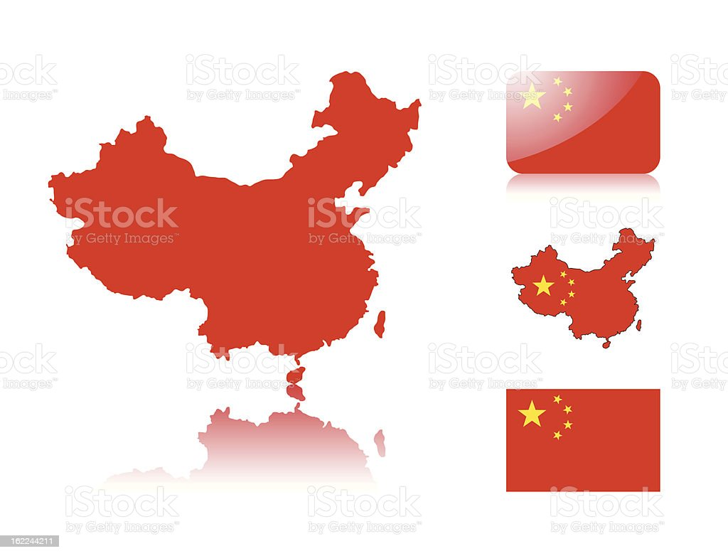 Chinese map and flags vector art illustration