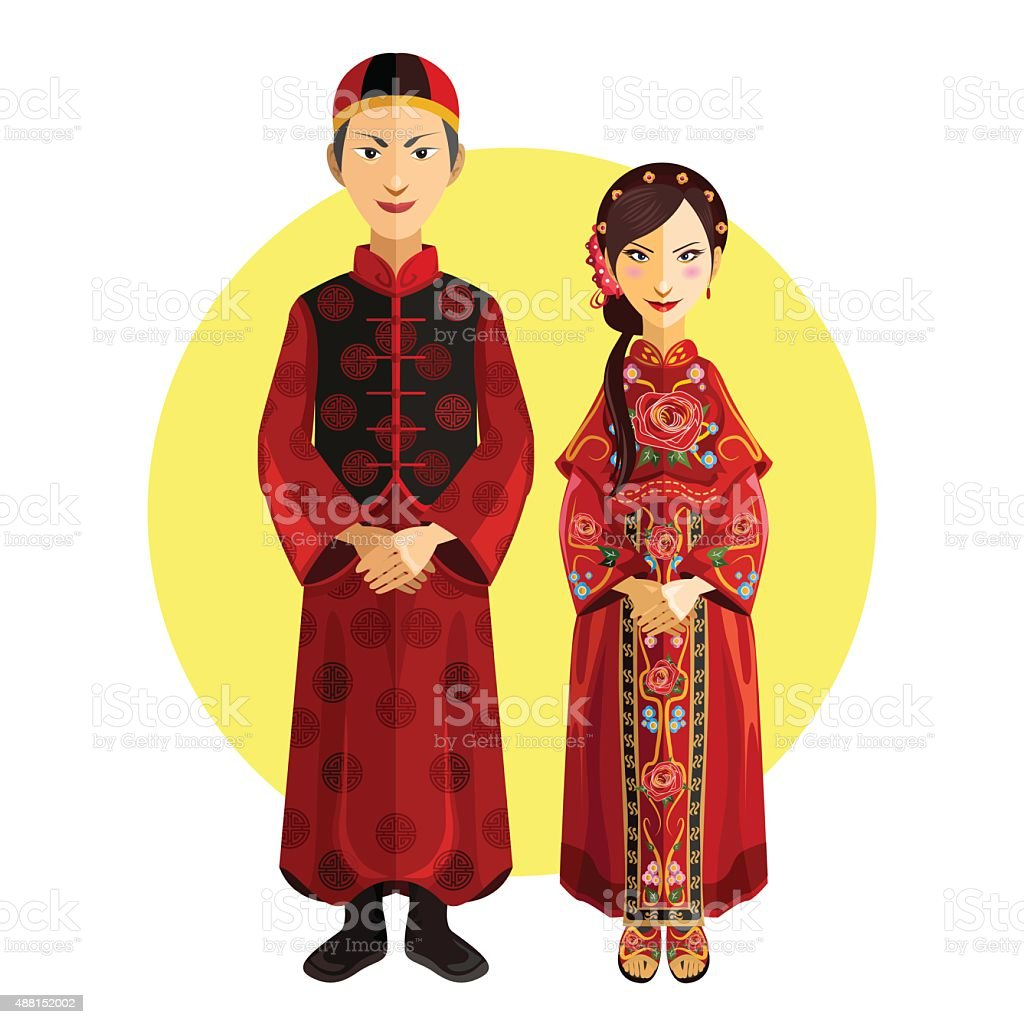 Chinese Marriage Wedding Outfit Ceremony vector art illustration