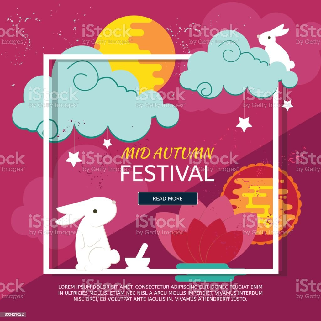 Chinese mid autumn festival design vector art illustration