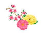 Chinese mid autumn festival design. Watercolor pink sakura branch with flowers. Flower pattern on white background. Mid Autumn Festival - Blooming Flowers, Perfect Conjugal Bliss. Vector illustration.