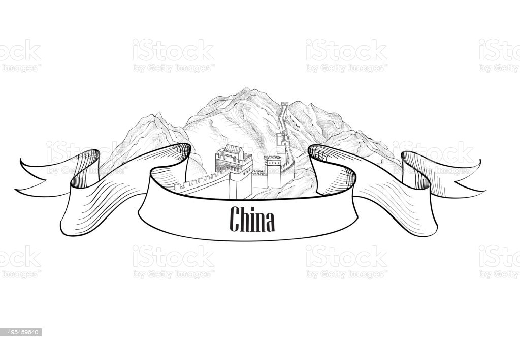 Chinese mountains and The Great Wall - China symbol vector art illustration