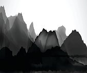 Chinese mountains and waters pattern background