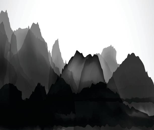 chinese mountains and waters pattern background - black and white mountain stock illustrations, clip art, cartoons, & icons