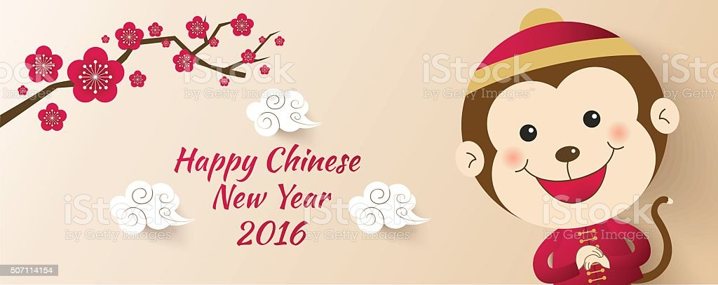 Chinese New Year 2016, Cute monkeys vector art illustration