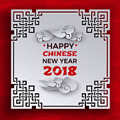 Chinese New Year 2018 banner. Text on white tracery ornate frame, paper clouds on red pattern background with oriental cloud. Design element for greeting card. Paper cut out style, vector illustration