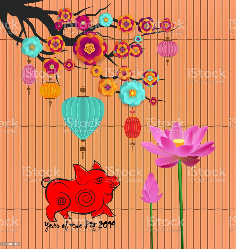 chinese new year 2019 background with lotus year of the pig royalty free chinese