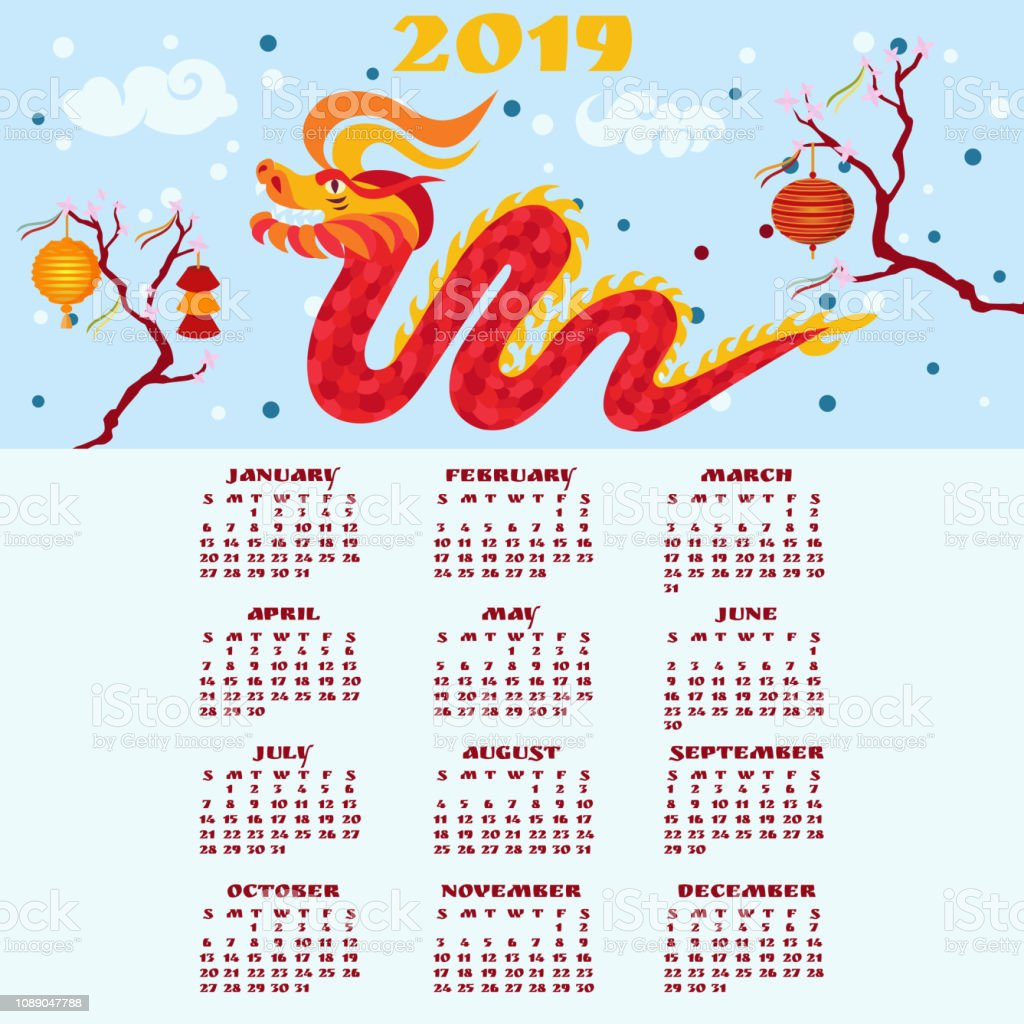 Chinese New Year 2019 calendar. Red dragon grinning. vector art illustration
