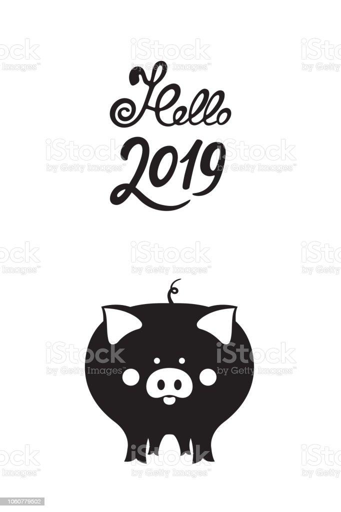 Chinesische Neujahr 2019 Süße Schweine Fanny Schwein Stock Vektor ...