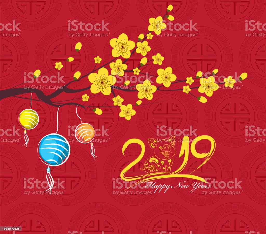 Chinese new year 2019 lantern and blossom. Year of the pig - Royalty-free 2019 stock vector