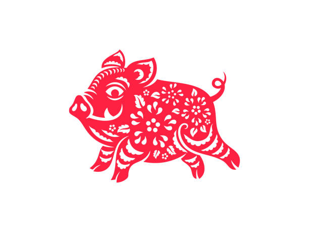 chinese new year 2019 pig - year of the pig stock illustrations, clip art, cartoons, & icons