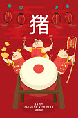 Chinese new year 2019 with pig cartoon character celebration on holiday in red background isolated. illustration vector.Translate: pig.