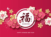 "Chinese new year 2019 greeting card with beautiful flowers background. Chinese translate: ""FU"" means blessing and happiness"