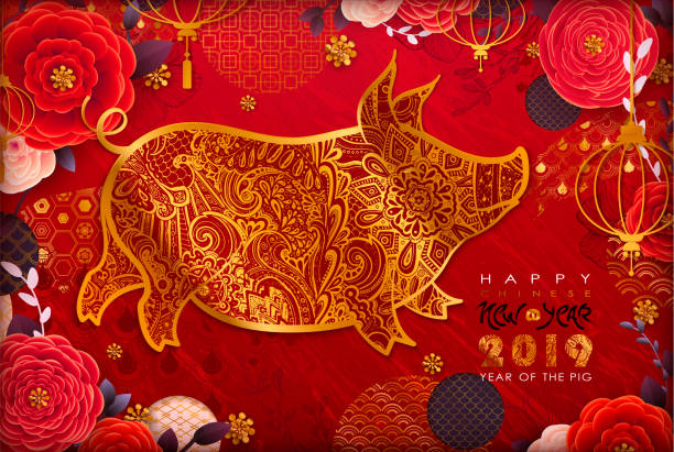 chinese new year 2019. zodiac pig. - year of the pig stock illustrations, clip art, cartoons, & icons