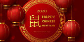 Chinese New Year 2020 banner. Realistic hanging lanterns with golden greeting text. Red traditional chinese background. Translation Year of the rat. Vector.
