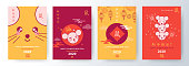 Chinese New Year 2020 banners, posters or greeting cards with cute kawaii rats, lanterns and fireworks. Hieroglyphs mean wishes of a Happy New Year, Good Fortune and symbol of the Year of the Rat.