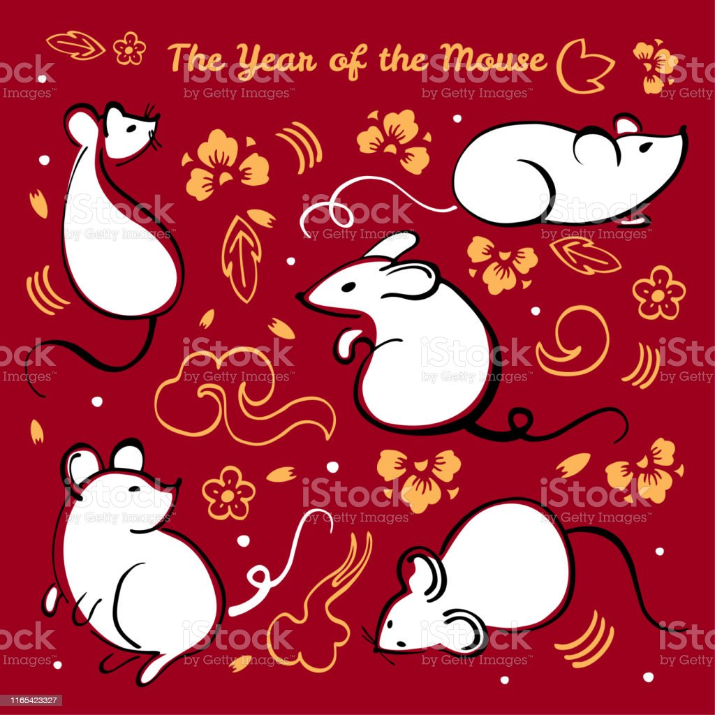 Chinese New Year 2020 Animal.Chinese New Year 2020 The Year Of The Mouse Or Rat Vector