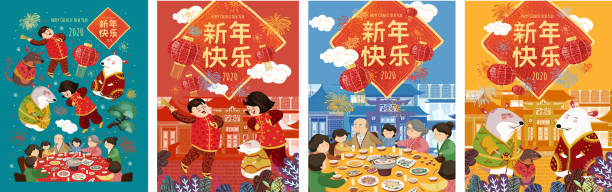 chinese new year 2020, the year of the rat. vector illustration: an asian family sits at a table, cute mice celebrate the holiday and people rejoice at the festival. translation :  happy new year - family dinner stock illustrations