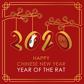 istock Chinese New Year 2020 vector Text isolated on red background 1196111885