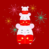 Chinese New Year 2020. Year of rat. Cute white rat in traditional chinese costume. Vector illustration for banner, poster, greeting card.