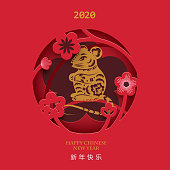 Chinese New Year 2020. Year of the Rat. Paper cut style. Illustration with Eastern elements. ( Chinese translation : Happy chinese new year)