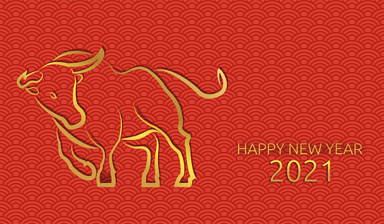 Chinese new year 2021 of the ox. Chinese pattern, seamless red background. Gold text and bull. Traditional oriental ornament. Vector