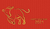 istock Chinese new year 2021 of the ox. Chinese pattern, seamless red background. Gold text and bull. Traditional oriental ornament. Vector 1278748468