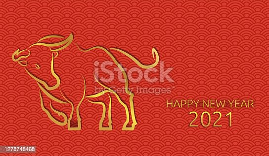 Chinese new year 2021 of the ox. Chinese pattern, seamless red background. Gold text and bull. Traditional oriental ornament. China traditional. Vector.