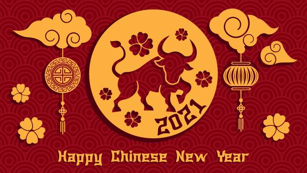 Chinese new year 2021 year of the ox background Chinese new year 2021 year of the ox background, red and gold paper cut ox character, flower and asian elements with craft style on background chinese currency stock illustrations