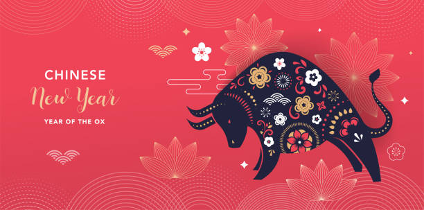 중국 새해 2021 년 황소 - 중국 조디악 기호 - chinese new year stock illustrations
