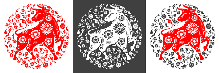 Chinese New Year 2021 Year Of The Ox Circle Design