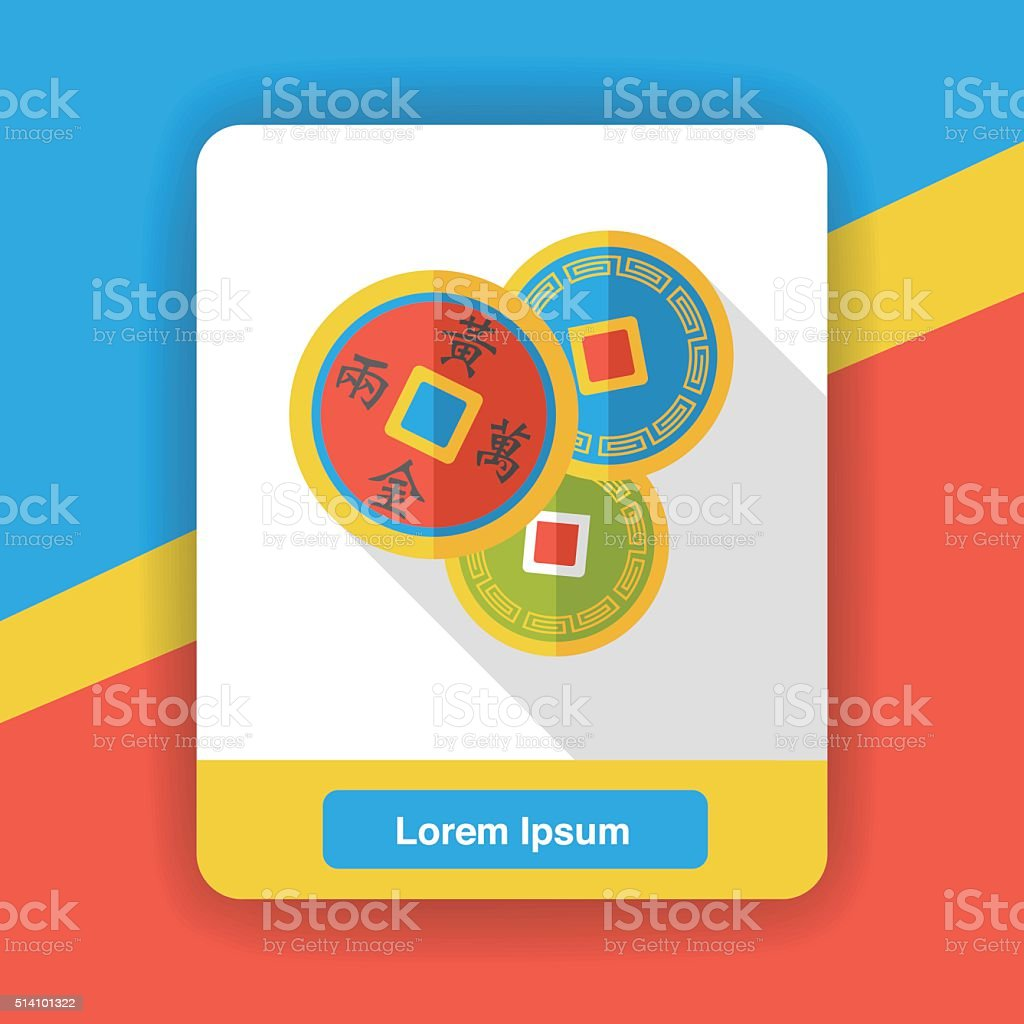 Chinese New Year Ancient Coins Flat Icon Stock Vector Art