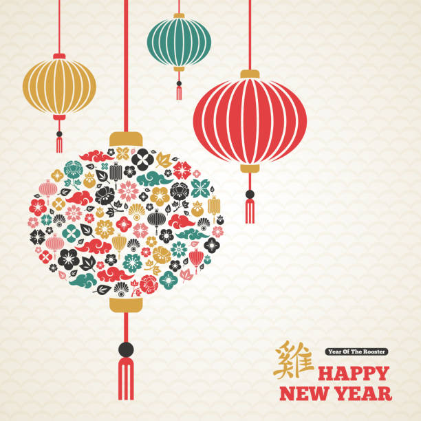 chinese new year, asian lanterns lamp - new year stock illustrations