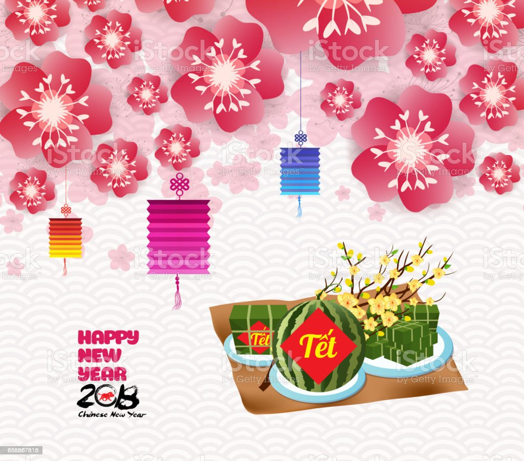chinese new year background blossom sakura branches vietnamese new year translation tet