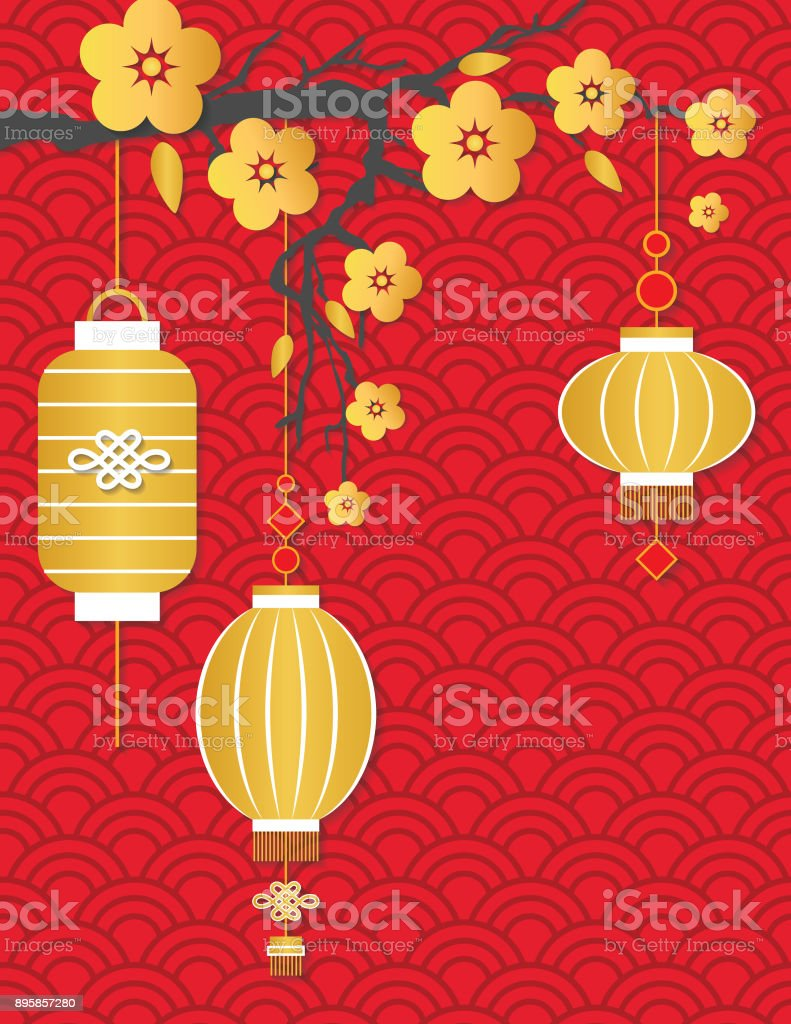 chinese new year background in 3d cut paper style royalty free chinese new year background