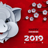 Chinese new year banner design, year of the pig, zodiac sign, animal symbol of 2019, traditional sakura cherry flowers, pattern oriental red background. Paper cut out art style, vector illustration