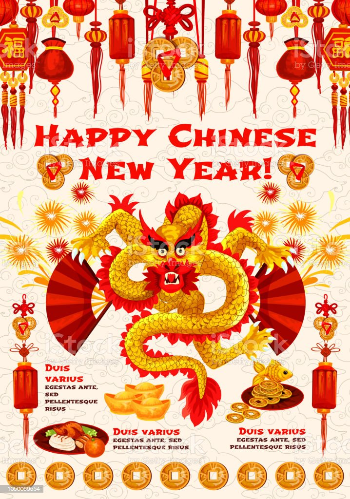 chinese new year banner of spring festival dragon royalty free chinese new year banner of