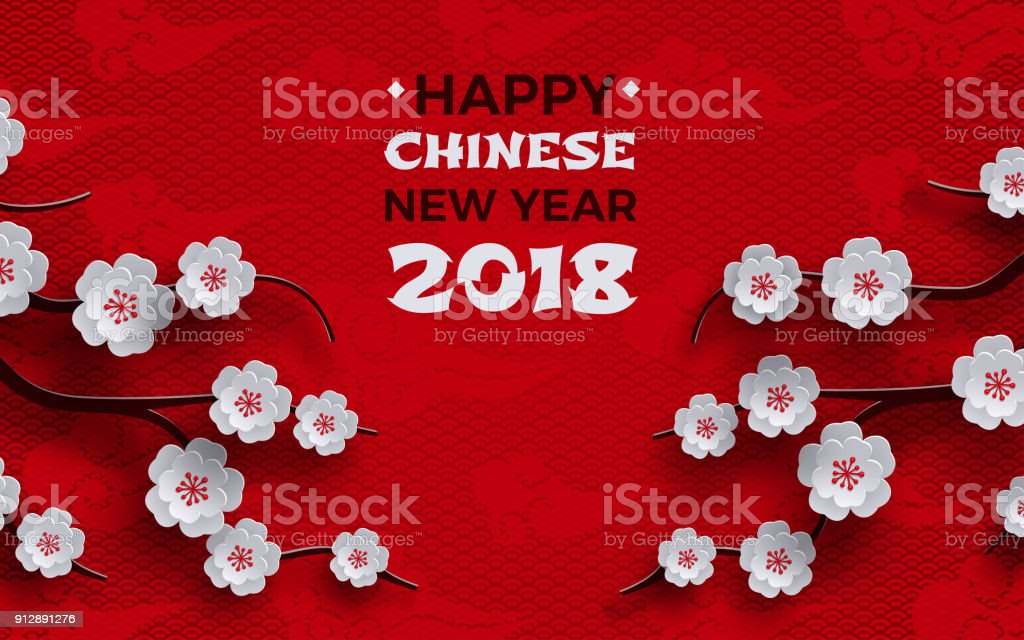 2018 chinese new year banner red background with traditional sakura cherry flowers on tree branches