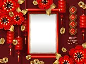 Chinese New Year banner. Red golden festive design. Lanterns, falling gold coins, peonies flowers, scroll with the place for text. Chinese translate Happy New Year. Vector illustration