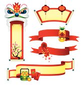 Vector illustration to show 5 set of Chinese new year banner