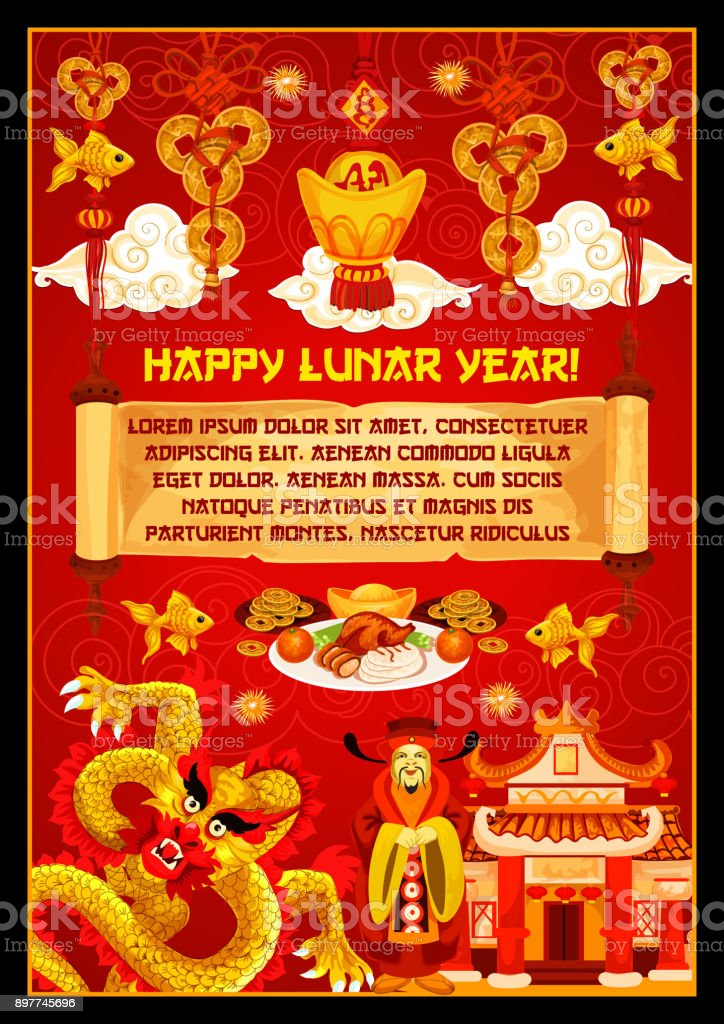 chinese new year banner with god of prosperity royalty free chinese new year banner with