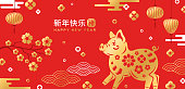 Chinese 2019 New Year Banner. Vector illustration. Zodiac Sign Boar with Flowers on Red Background. Hieroglyph Translation in Stamp: Pig, Long phrase - Happy New Year