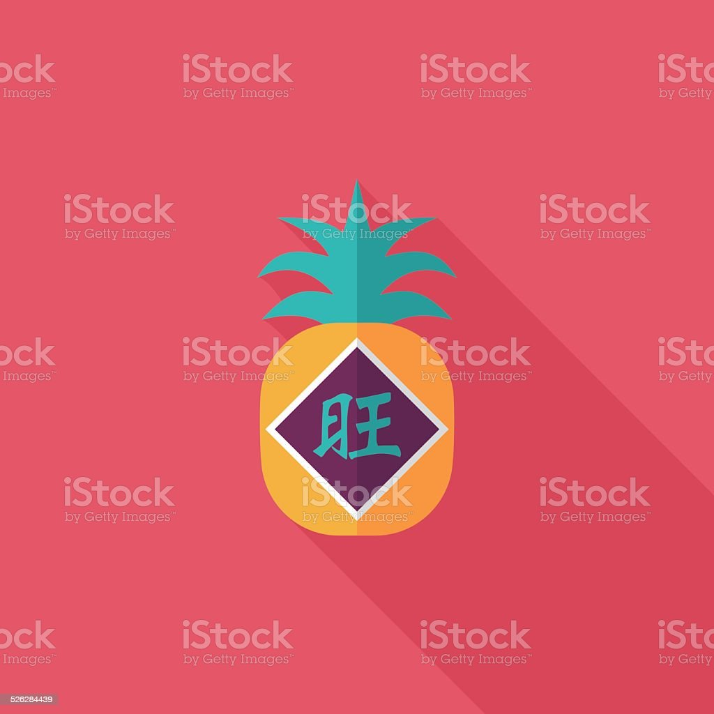 Chinese New Year Blessing Pineapple Flat Icon Eps10 Stock Vector Art