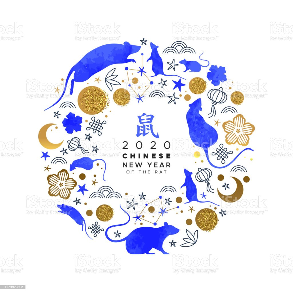 Chinese New Year blue gold watercolor rat card Chinese New Year 2020 greeting card of blue watercolor mouse animals, astrology symbols and traditional gold asian hand drawn icon circle frame. Calligraphy translation: rat. Chinese New Year stock vector