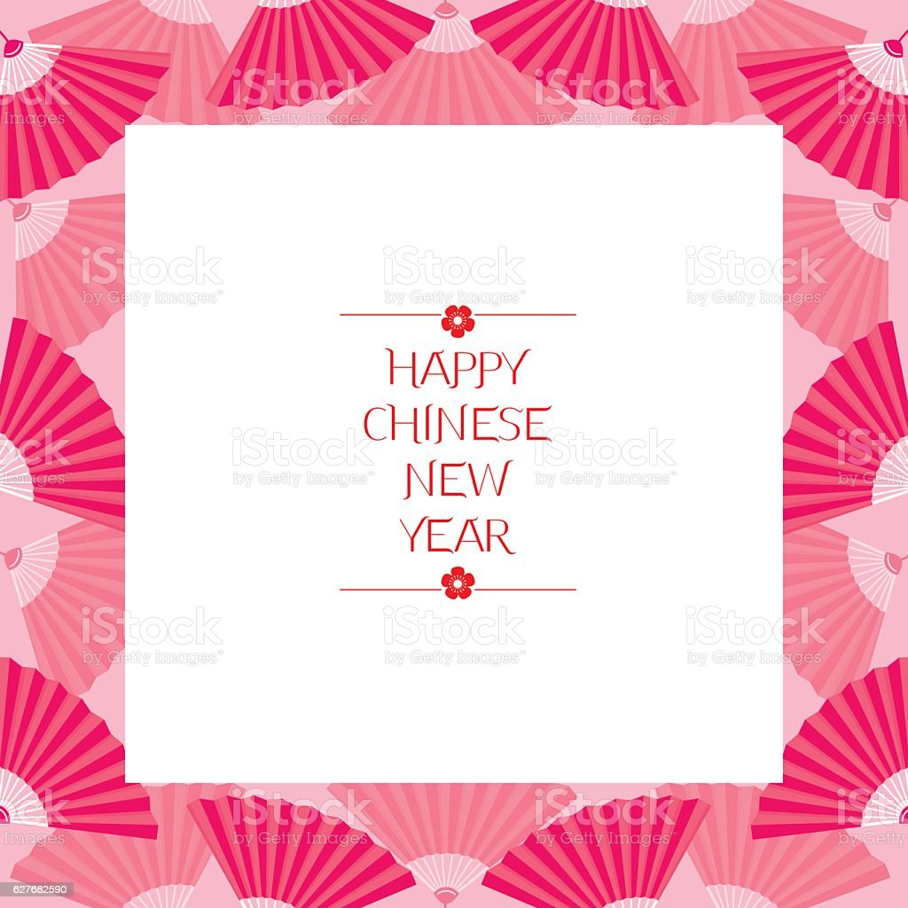 chinese new year border with fan royalty free chinese new year border with fan stock