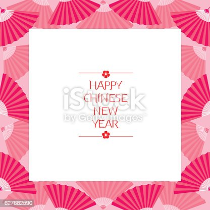 chinese new year border with fan stock vector art more images of 2017 627682590 istock