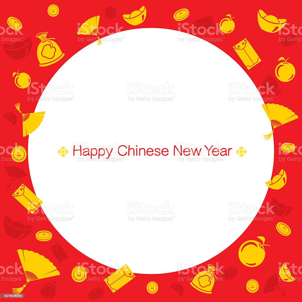 chinese new year border with icons royalty free chinese new year border with icons stock