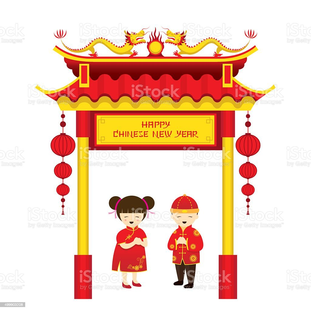 chinese new year boy and girl and chinese gate stock