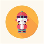 Chinese New Year boy flat icon with long shadow,eps10