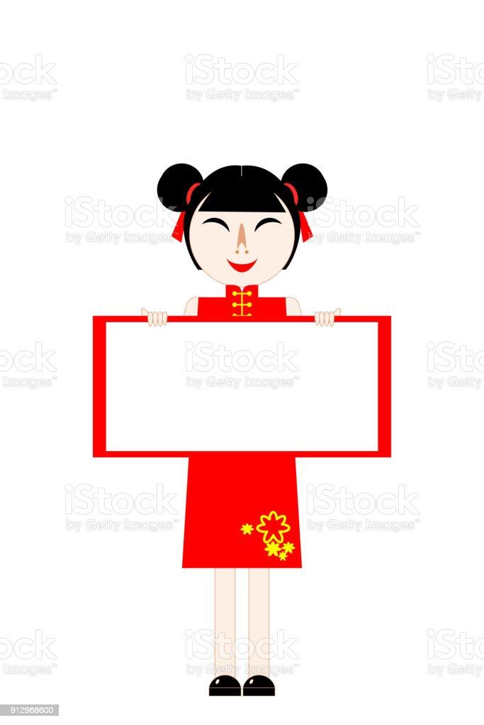 chinese new year card girl in red dress standing and holding blank board paper