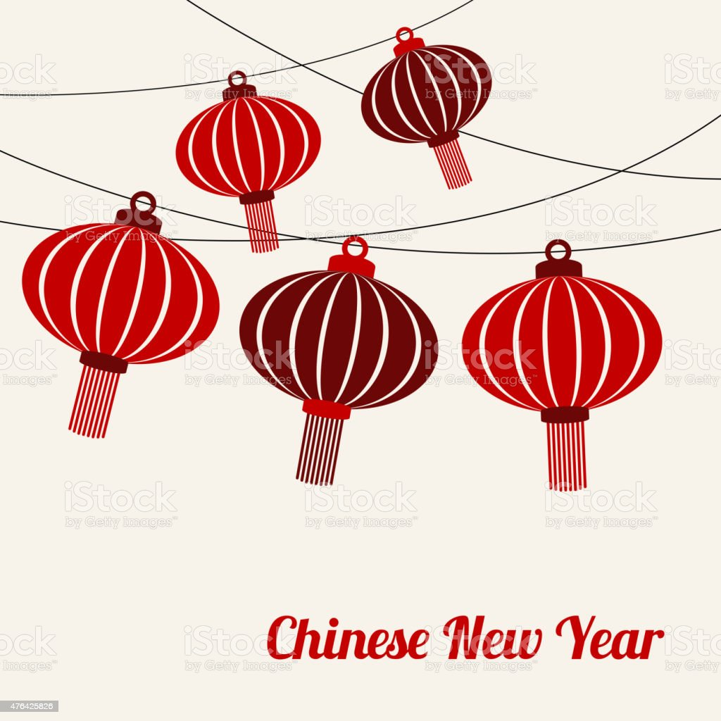 Chinese New Year Card With Garlands Of Red Lanterns Vector Stock ...